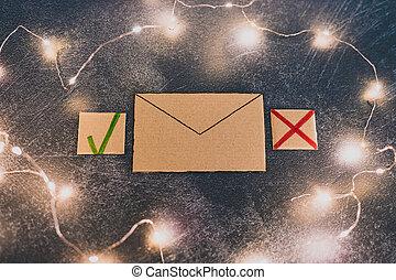 jonque, newsletter, croix, ou, email, courrier, message, tique, options