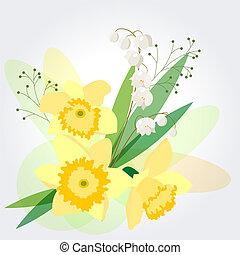 jonquilles, fond, jaune