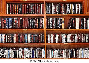 joodse , gebedboeken, op, houten, shelves.