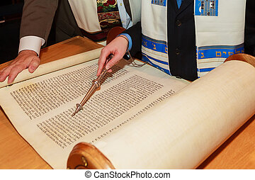joodse , man, geklede, in, ritueel, kleding