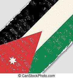 jordânia, grunge, flag., vetorial, illustration.