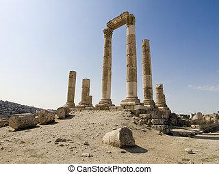 jordânia, hercules, cidadela, templo, amman