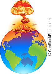 jord, begreb, eksplosion, katastrofe