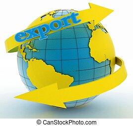 jord, eksporter, omkring, pil