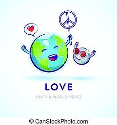 jord, fred, whimsical, fejr, måne, illustration