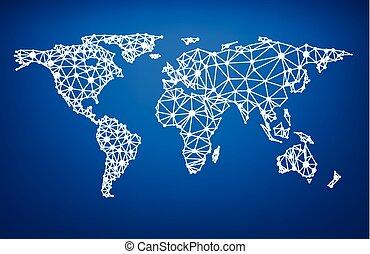 jord, netværk, mesh., globale, map.