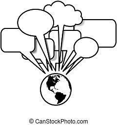 jord, vest, snakker, blogs, tweets, ind, tale boble,...