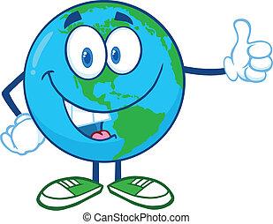 jord, viser, karakter, tommelfingre oppe