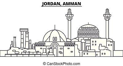 Jordan, Amman line skyline vector illustration. Jordan,...