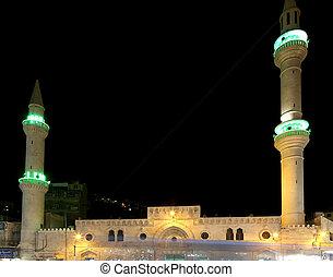 jordan, amman, meczet, noc