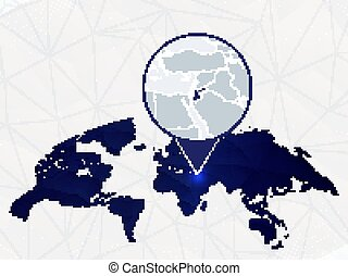 Jordan detailed map highlighted on blue rounded World Map.
