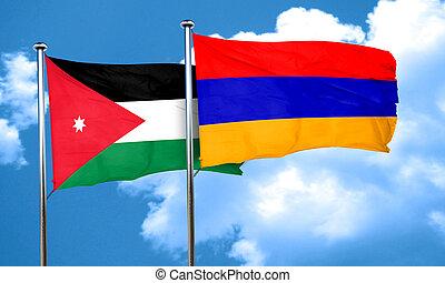 Jordan flag with Armenia flag, 3D rendering
