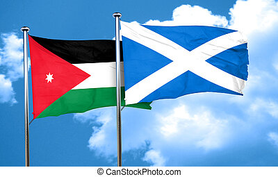 Jordan flag with Scotland flag, 3D rendering