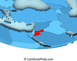 Jordan in red on blue map