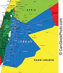 Jordan map - Highly detailed vector map of Jordan with...