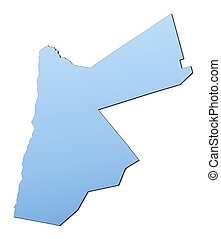 Jordan map filled with light blue gradient. High resolution...