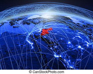 Jordan on blue blue digital globe