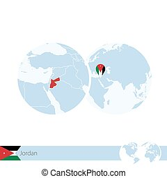 Jordan on world globe with flag and regional map of Jordan....