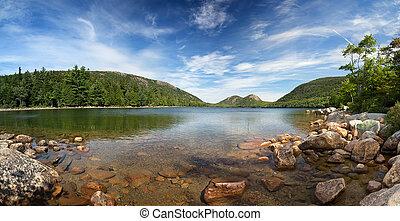Jordan Pond Panorama - A panorama of Jordan Pond, Acadia...