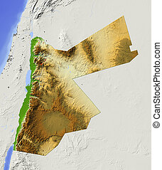 Jordan, shaded relief map - Jordan. Shaded relief map with ...