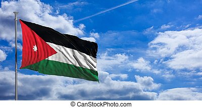 Jordan waving flag on blue sky. 3d illustration