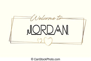 Jordan Welcome to text Neon lettering typography. Word for logotype, badge, icon, postcard, logo, banner Vector Illustration.