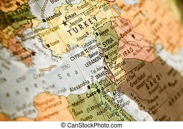 jordanië, kaart, libanon, israël