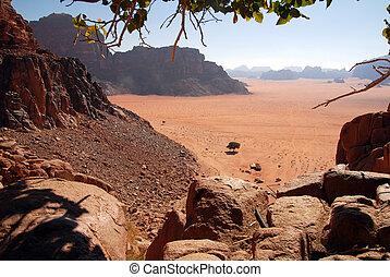 jordania, wadi, paisaje, ron