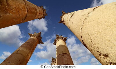 Jordanian city of Jerash - Roman Columns in the Jordanian...