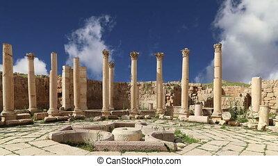 Jordanian city of Jerash, Jordan - Roman ruins in the...