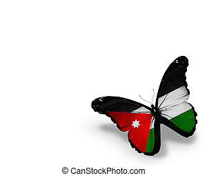Jordanian flag butterfly, isolated on white background