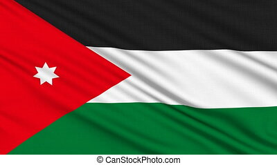 Jordanian flag, with real structure of a fabric