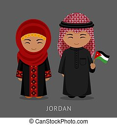 Jordanians in national dress with a flag.