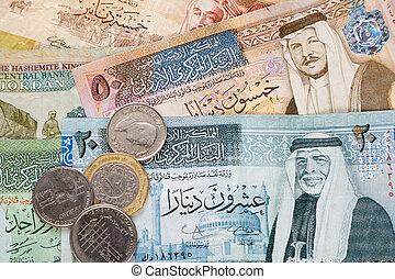 jordanier, dinar, sedlar, och, mynter