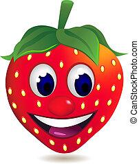 jordbær, cartoon, karakter