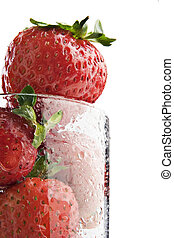 jordbær, ind, en, glas