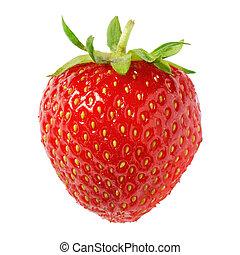jordbær, isoleret, moden