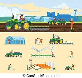 jordbruk, begrepp, färgrik