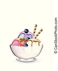jordgubbe, blåbär, grädde, is, glas