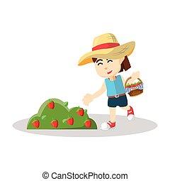 jordgubbe, flicka, skörda