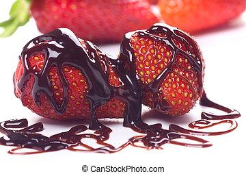 jordgubbe, frukt, med, choklad