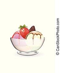 jordgubbe, glas, grädde, is, choklad