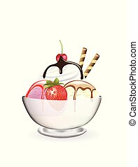 jordgubbe, glas, grädde, is, körsbär