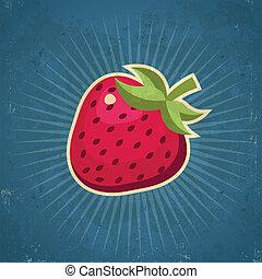 jordgubbe, retro, illustration