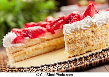 jordgubbe, tårta, med, grädde
