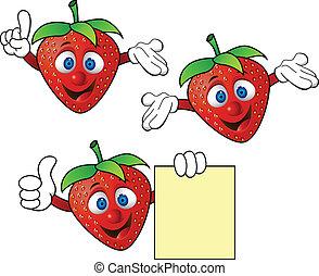 jordgubbe, tecknad film, tecken