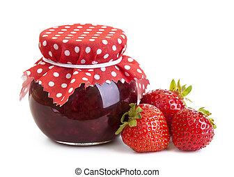 jordgubbssylt, och, frisk, bär