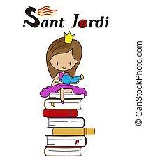 jordi, 伝統的である, カタロニア, spain., sant, 祝祭