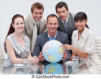 jordisk, globe., affär, global, holdingen, lag