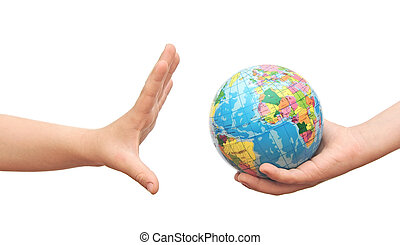 jordklotet, in, barns, hands.